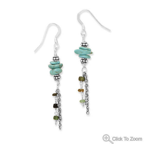 Multi-color Multi-stone Silver Setting Earrings 2.5 Inches