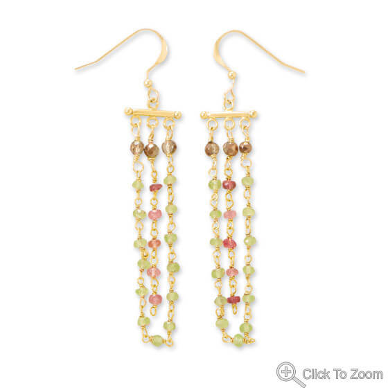 Multi-color Multi-stone Gold Plated Earrings 2.75 Inches