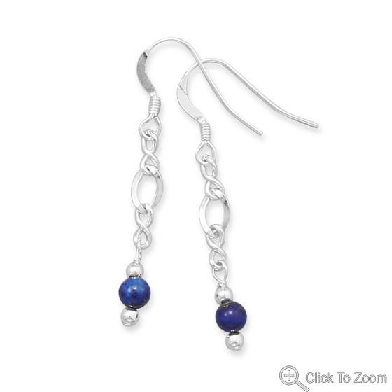 Blue Lapis Lazuli Beaded Drop Earrings 1.57 Inches