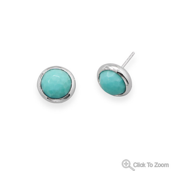 Blue Turquoise Silver Setting Post Earrings 0.43 Inches