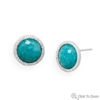 Blue Amazonite Silver Setting Post Earrings 0.61 Inches