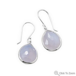 Blue Chalcedony Silver Setting Drop Earrings 0.61 Inches
