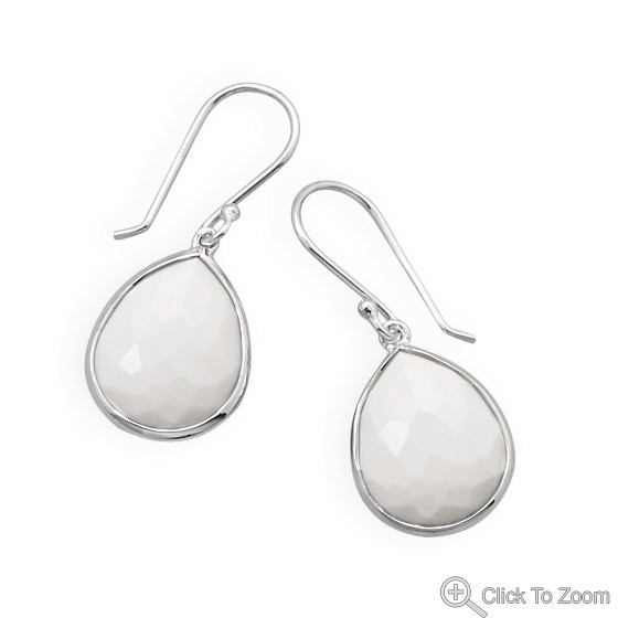 White Agate Silver Setting Drop Earrings 1.22 Inches