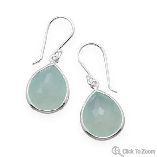 Green Chalcedony Silver Setting Drop Earrings 1.22 Inches