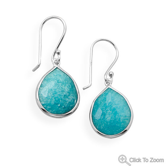 Blue Amazonite Silver Setting Drop Earrings 1.22 Inches