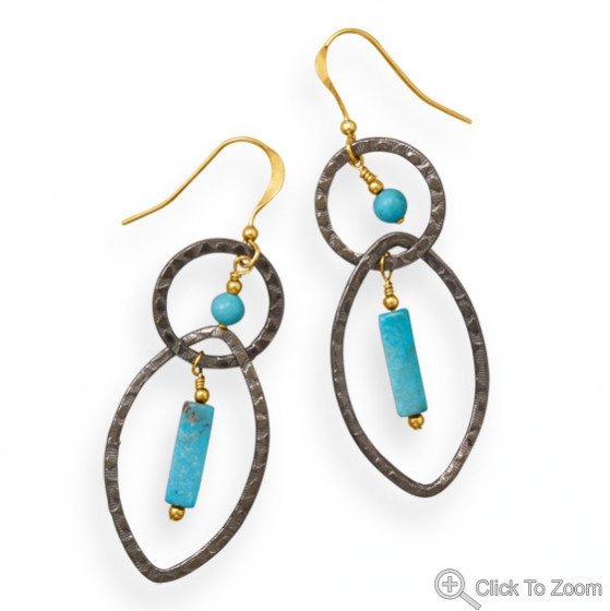 Blue Turquoise Silver Setting American-southwest Earrings 2.5 Inches