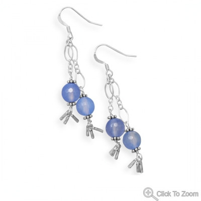 Blue Agate Beaded Drop Earrings 2.5 Inches