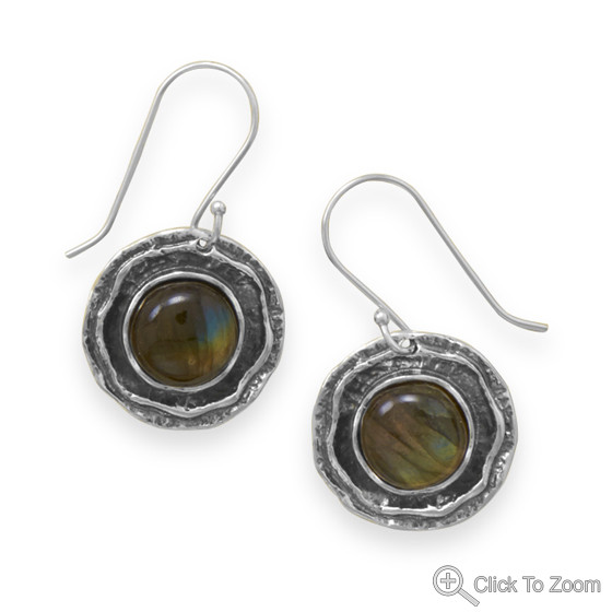 Brown Labradorite Silver Setting Drop Earrings 1.38 Inches