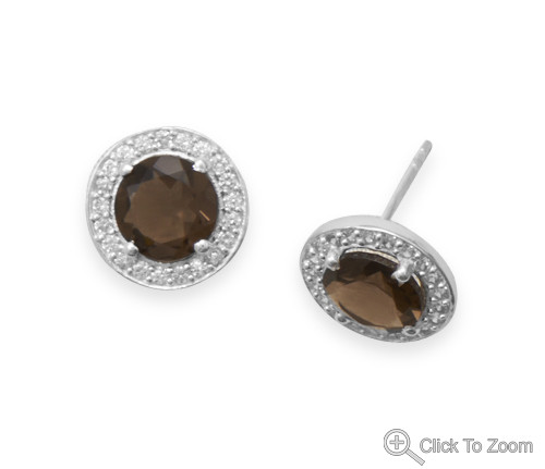 Brown Smoky Quartz Silver Setting Post Earrings 0.49 Inches