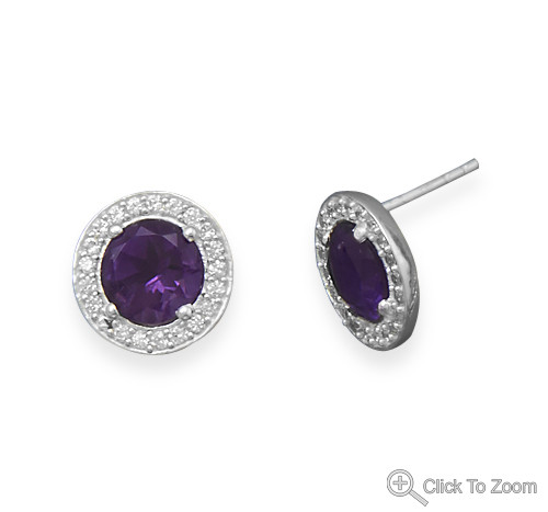 Purple Amethyst Silver Setting Post Earrings 0.49 Inches