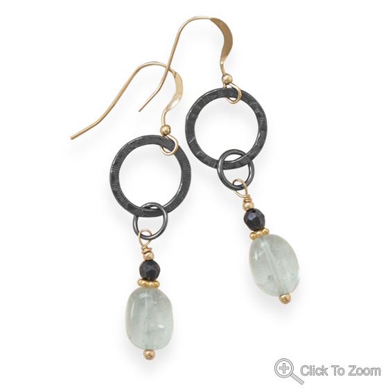 Blue Quartz Rain Drop Earrings 2 inches