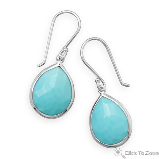 Blue Turquoise Silver Setting Drop Earrings 1.25 Inches