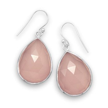 Pink Chalcedony Silver Setting Drop Earrings 1.25 Inches