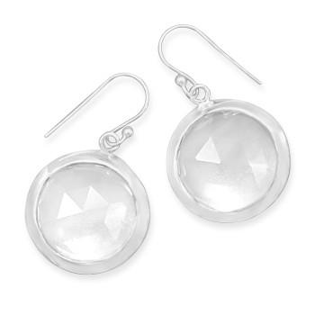 White Quartz Silver Setting Drop Earrings 1.25 Inches