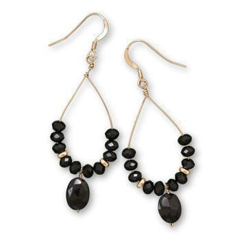 Black Black Spinel Gold Plated Drop Earrings 2.16 Inches