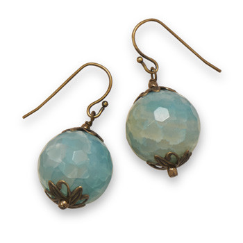 Blue Agate Brass Drop Earrings 0.75 Inches