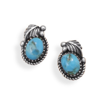 Blue Turquoise Silver Setting Studs Earrings 0.27 Inches