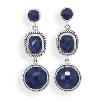 Blue Sapphire Silver Setting Drop Earrings 1.45 Inches