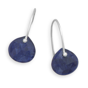 Blue Sapphire Gemstones Drop Earrings 0.82 Inches