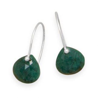 Green Emerald Beaded Drop Earrings 0.82 Inches