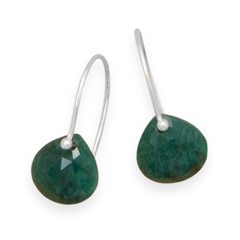 Green Emerald Beaded Drop Earrings 0.82 Inches