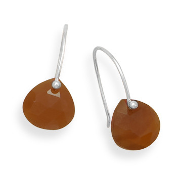 Brown Carnelian Beaded Drop Earrings 0.82 Inches