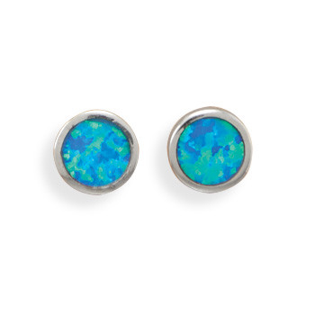 Blue Opal Silver Setting Studs Earrings 0.25 Inches