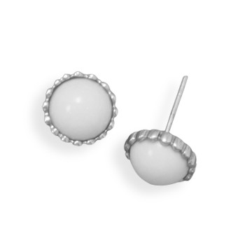 White Agate Silver Setting Post Earrings 0.29 Inches