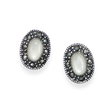 White Shell Silver Setting Studs Earrings 0.29 Inches