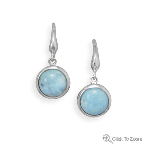 Blue Larimar Silver Setting Drop Earrings 0.9 Inches