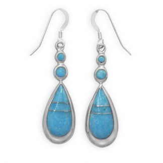 Blue Turquoise Silver Setting Drop Earrings 2 Inches