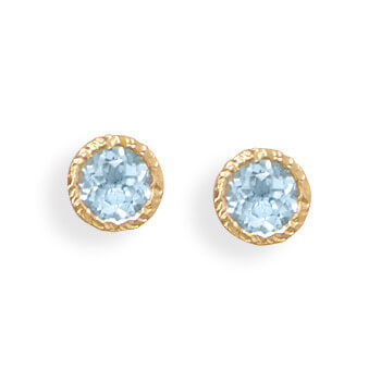 Blue Blue Topaz Gold Plated Studs Earrings 0.47 Inches