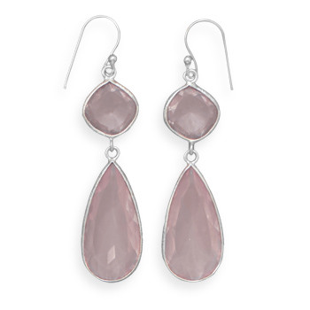 Pink Rose Quartz Silver Setting Drop Earrings 2.5 Inches