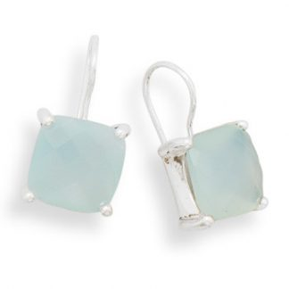 Green Chalcedony Silver Setting Drop Earrings 0.9 Inches