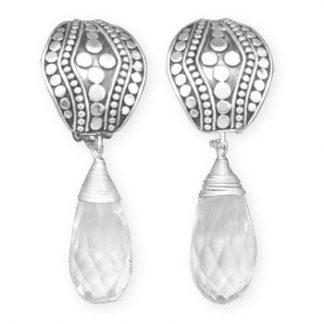 Clear Quartz Silver Setting Drop Earrings 2.32 Inches