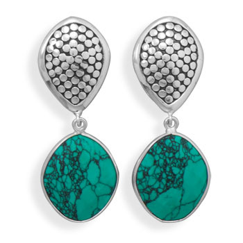 Green Turquoise Silver Setting Drop Earrings 0.82 Inches