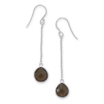 Brown Smoky Quartz Silver Setting Drop Earrings 2.51 Inches