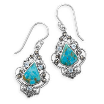 Blue Turquoise Silver Setting Drop Earrings 1.45 Inches
