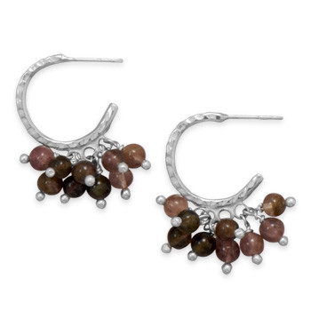 Brown Tourmaline Silver Setting Hoop Earrings 0.15 Inches