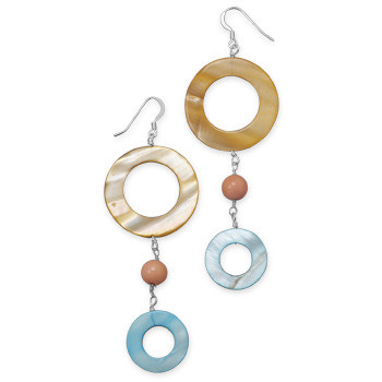 Multi-color Shell Beaded Drop Earrings 3.5 Inches