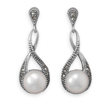 White Pearl Silver Setting Drop Earrings 1.67 Inches