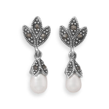 White Pearl Silver Setting Drop Earrings 1 Inches