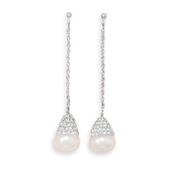 White Pearl Silver Setting Drop Earrings 1.75 Inches