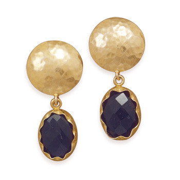 Purple Amethyst Gold Plated Chipped Earrings 0.66 Inches