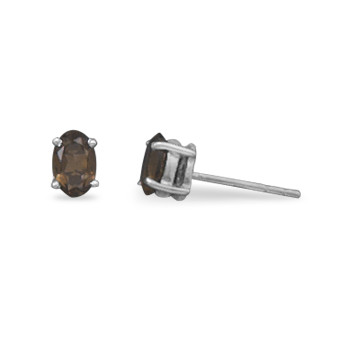 Brown Smoky Quartz Silver Setting Studs Earrings 0.23 Inches