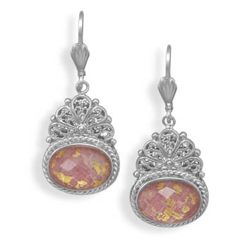 Multi-color Quartz Silver Setting Drop Earrings 1.57 Inches
