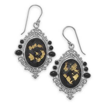 Black Quartz Silver Setting Drop Earrings 1.77 Inches