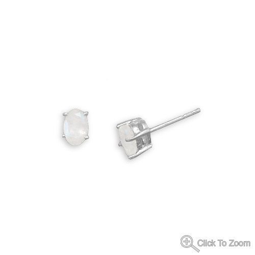 White Moonstone Silver Setting Studs Earrings 0.23 Inches