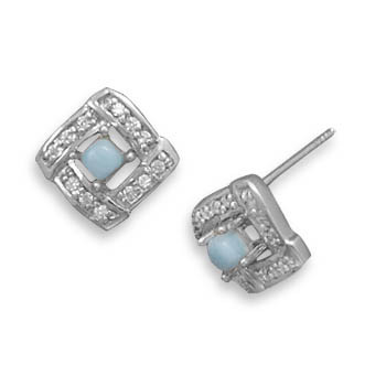 Blue Larimar Silver Setting Studs Earrings 0.13 Inches