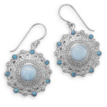 Blue Larimar Silver Setting Drop Earrings 1.77 Inches